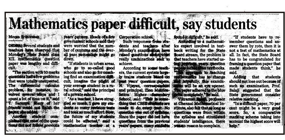 Mathematics +2 Board Exams were tough - Press Report - starwin.in
